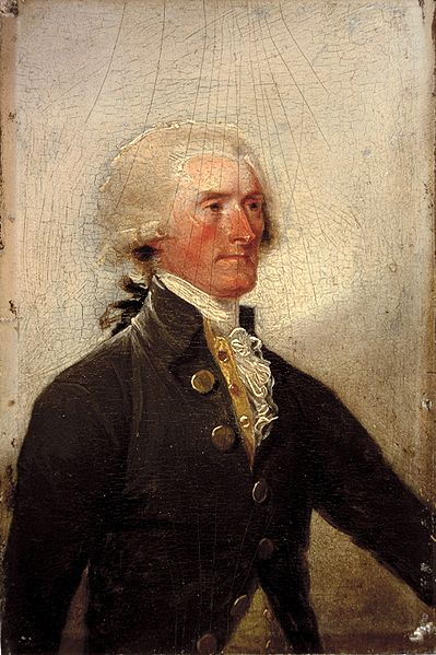 A portrait of Thomas Jefferson, painted by John Trumbull directly onto the Declaration of Independence. Courtesy the White House Historical Association.