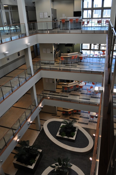 Atrium of the Public Safety Headquarters at 315 South Santa Rosa. Photo by Iris Dimmick.