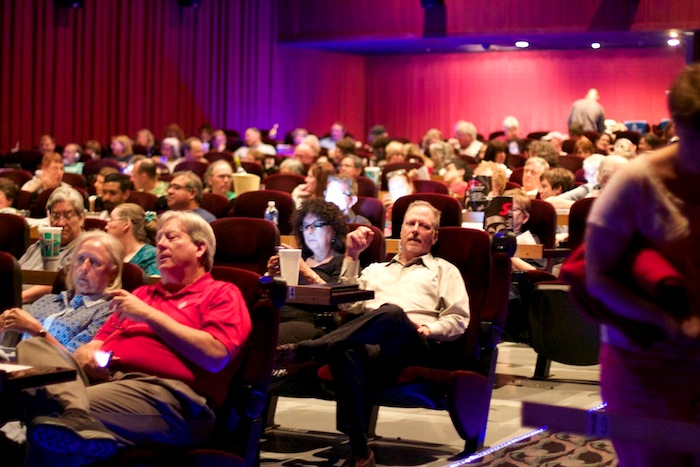 """Patrons pack a Santikos Bijou Cinema Bistro theater for the NPR Cinema Tuesday showing of """"12 Angry Men."""" Photo by Taylor Browning."""