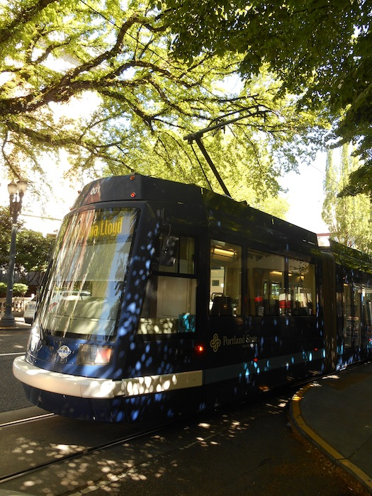 Portland State University (about 30,000 students) is a sponsor and major destination for the streetcar. Photo by Don Mathis.