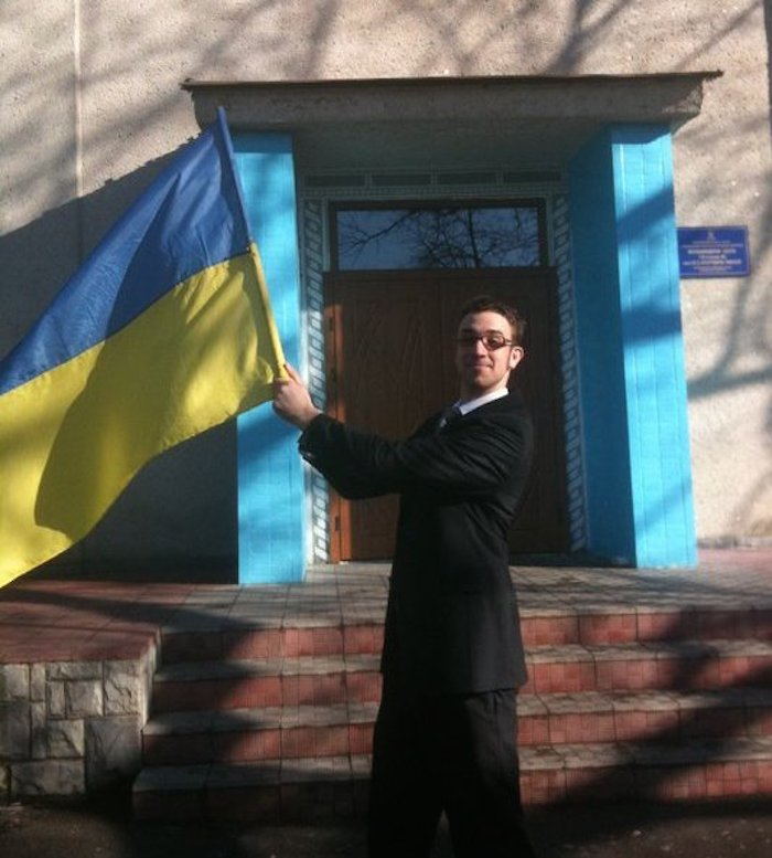 Proudly waving the Ukrainian blue and yellow in front of my school, Nemyriv No.1 Photo courtesy of Adam Tutor.