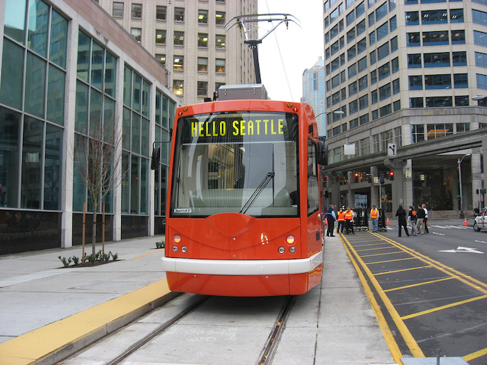 Opening day of the South Lake Union Streetcar line in Seattle (2007).