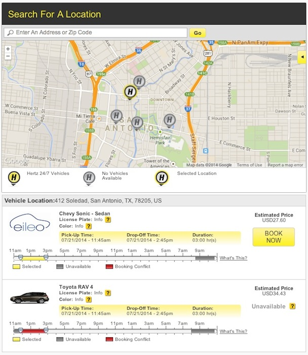 The Hertz 24/7 vehicle map for downtown San Antonio.
