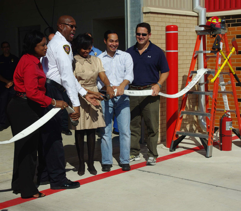 Ivy Taylor and Julian Castro attend a ribbon-cutting ceremony for Fire Station #1 on Cherry St. Photo by Juan Garcia.