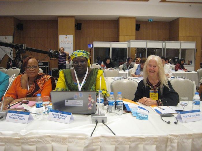Liberian Minister of Gender Julia Marpu Duncan-Cassell, Liberian Minister of Education Felicia Sackey Doe-Sumah, and Sr. Martha Ann Kirk at the Istanbul Summit. Courtesy photo.