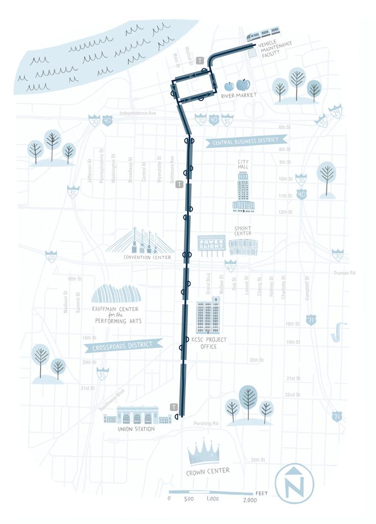 Kansas City streetcar map courtesy of Alex Miller, Parson and Associates.
