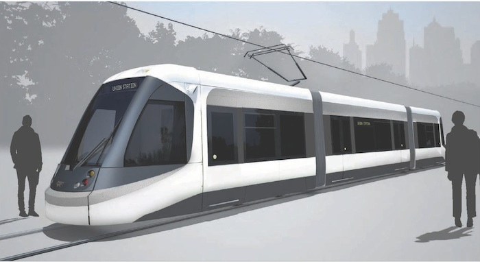 Kansas City streetcar rendering courtesy of Willoughby Design Inc.