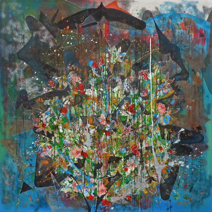 Fausto Fernandez, Love is what you make it out to be, 2013. Collage, architectural plans, maps, acrylic, oil pastel, and spray paint on canvas, 72 x 72 in. Courtesy of the artist.