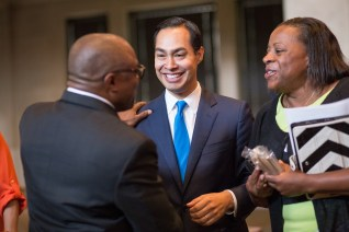 Outgoing Mayor Julián Castro talks friends and citizens before the mayoral election. Photo by Scott Ball.