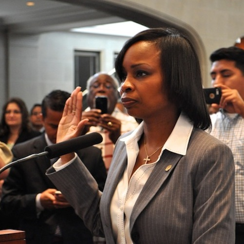 Former District 2 Councilwoman Ivy Taylor is sworn in as interim mayor of San Anotnio. Photo by Iris Dimmick.