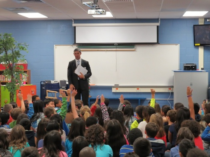 Councilman Nirenberg at the first District 8 Kids Town Hall. Courtesy photo.