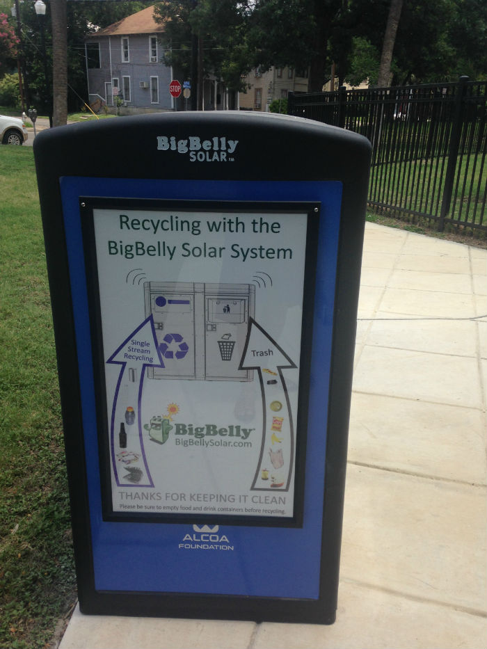 A side view of a BigBelly station explains which items can be thrown away and which can be recycled. Courtesy photo.