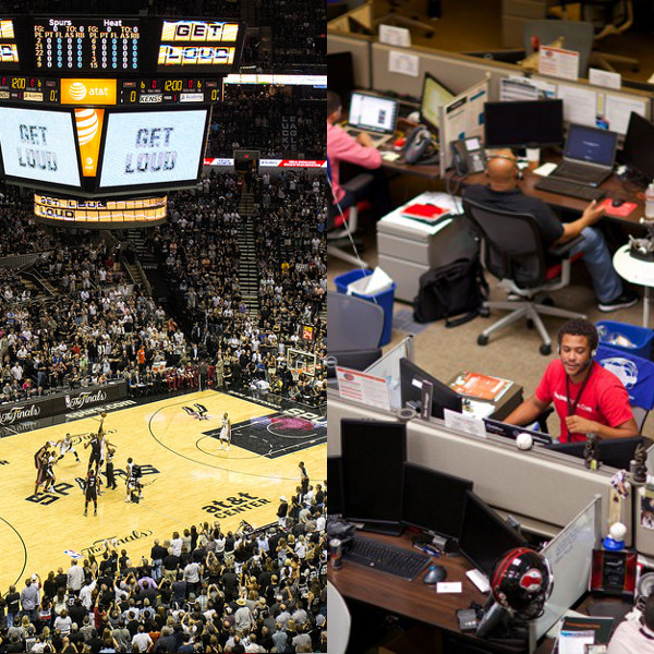 Left: Tip-off between the San Antonio Spurs and Miami Heat for Game 2 of the 2014 NBA Finals. Photo by Scott Ball. Right: Rackers collaborate to provide Fanatical Support to their customers. Photo courtesy of Rackspace.