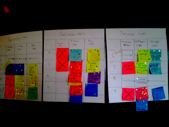 A schedule of events at SATCamp, made up of notes posted by guests. Photo by Adrian Ramirez.