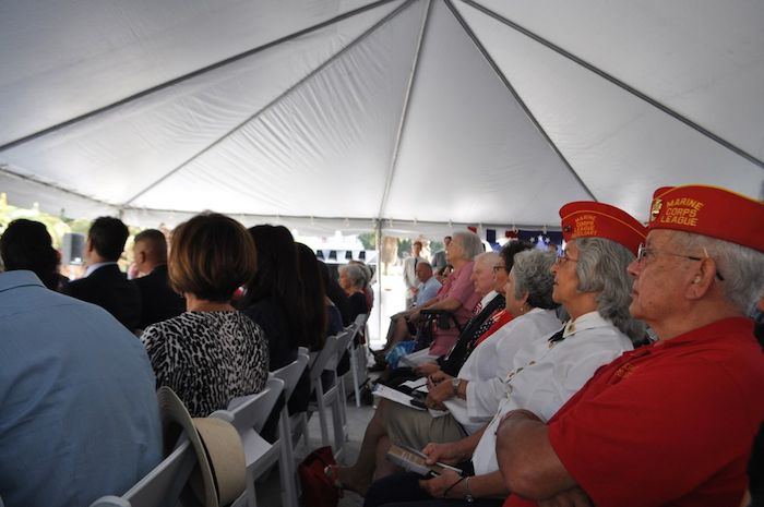 More than 200 elected officials, dignitaries, veterans and families of Medal of Honor winners, convene at the unveiling of the Medal of Honor River Portal connecting the San Antonio River to the Tobin Center for the Performing Arts July 3, 2014. Photo by Iris Dimmick.