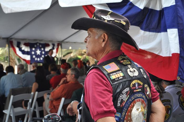 A veteran looks on before the unveiling of the Medal of Honor River Portal connecting the San Antonio River to the Tobin Center for the Performing Arts July 3, 2014. Photo by Iris Dimmick.