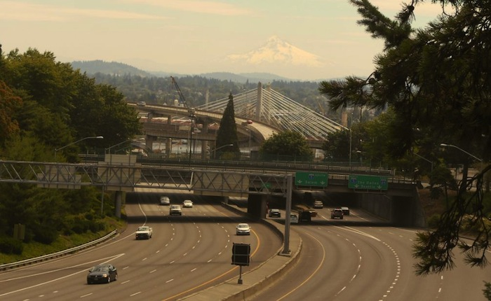 Portland resident Matthew Mathis (the author's brother) believes the TriMet streetcar bridge, opening in 2015, was designed to mirror Mount Hood. Photo by Don Mathis.