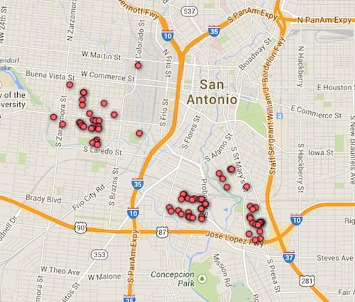 San Antonio Fruit Tree Project's catalogue of urban fruit trees. Courtesy of Google Maps.
