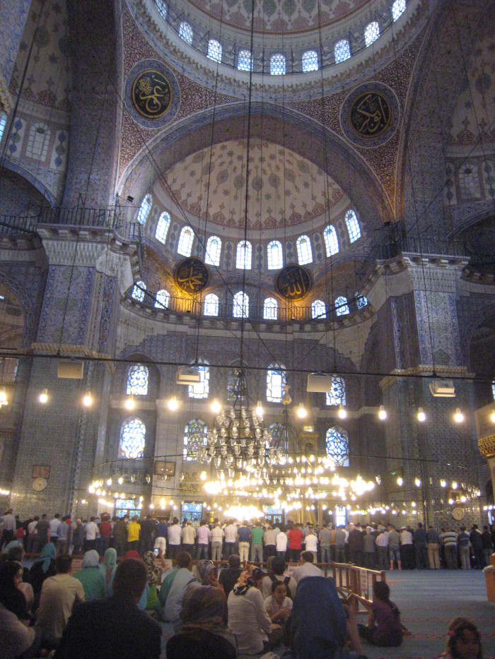 Women and men gathered on an ordinary work day for one of five daily prayer periods in the New Mosque in the Eminönü quarter of Istanbul. Photo by Martha Ann Kirk.