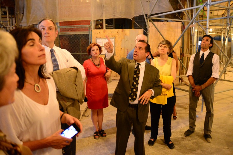 Tobin Center CEO leads a tour of the facility during its construction. File photo by Page Graham.