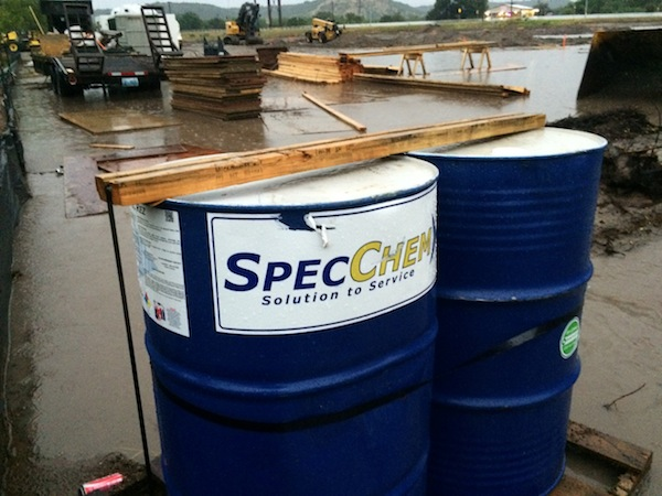 Barrels on the under-construction Pilot Flying J truck stop during a recent rainfall. Courtesy photo.