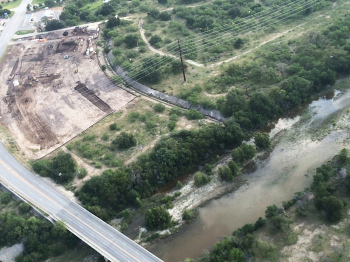 The construction site of a Pilot Flying J truck stop, flanked by the Llano River. Photo courtesy of Bill Neiman.