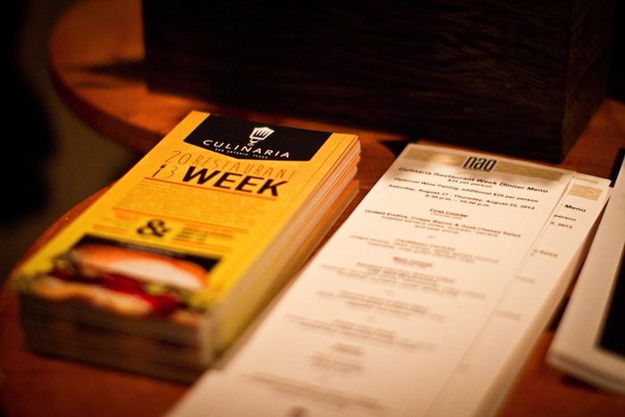 NAO menu proudly displayed for all the foodies visiting during Culinaria's Restaurant Week.