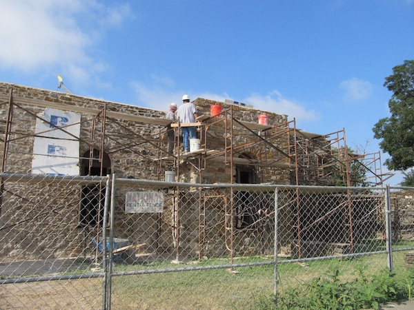 Repointing work is being done on the exterior of Mission Espada. Photo by Carol Baass Sowa.