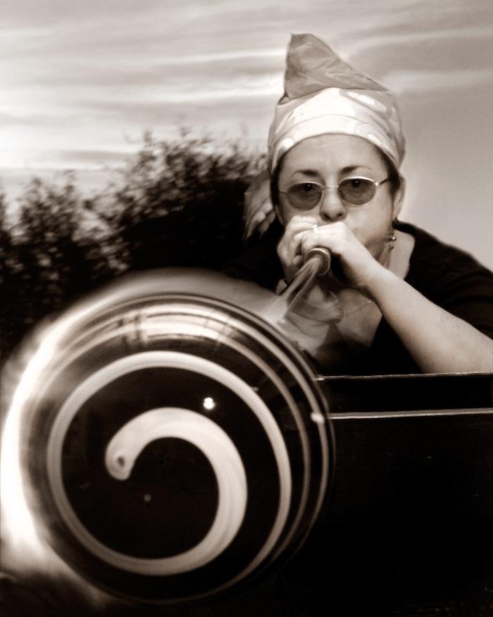 Local glass artist Gini Garcia. Photo by Al Rendon.