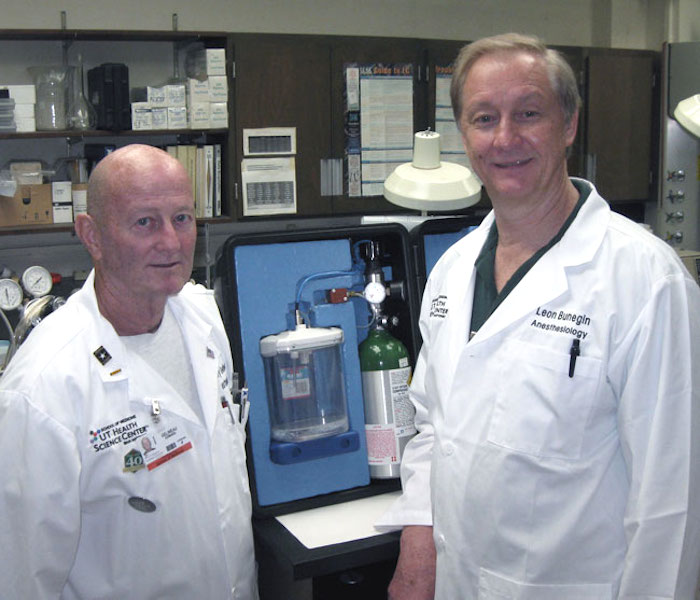 Jerry Gelineau (left), research scientist in the School of Medicine, and Leon Bunegin, associate professor of anesthesiology in the School of Medicine, are co-inventors of the Sherpa. Courtesy photo.