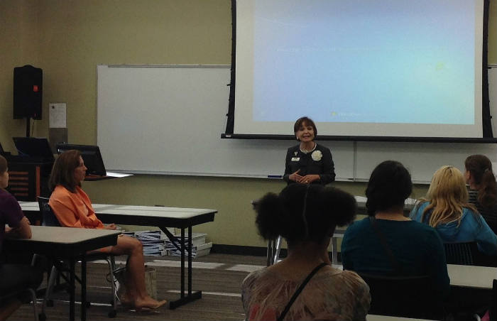Maria Hernandez Ferrier, president of Texas A&M - San Antonio, speaks to attendees at Cyber Camp. Photo by Erin Hood.