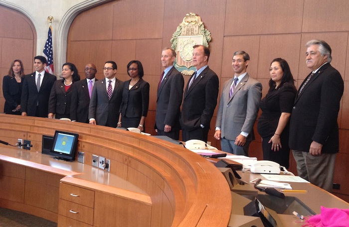 San Antonio City Council, which now includes four women and two African-Americans, including Mayor IvyTaylor. (From left) District 5 Councilwoman Shirley Gonzales, District 4 Councilman Rey Saldaña, District 3 Councilwoman Rebecca Viagran, District 2 Councilman Keith Toney, District 1 Councilman Diego M. Bernal, Mayor Taylor, District 10 Councilman Mike Gallagher, District 9 Councilman Joe Krier, District 8 Councilman Ron Nirenberg, District 7 Councilwoman Mari Aguirre Rodriguez, and District 6 Councilman Rey Lopez.