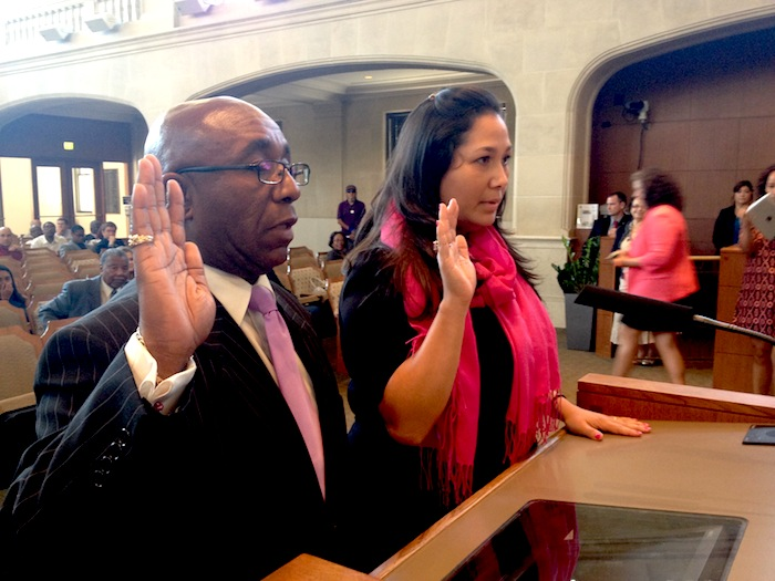District 2 Councilman Keith Toney (left) and District 7 Councilwoman Mari Aguirre Rodriguez are sworn in to serve on the San Antonio City Council.