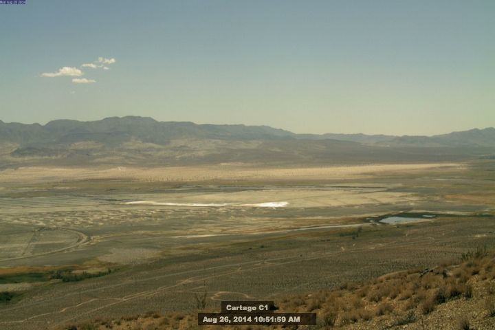 In 2013, Owens Lake was the largest single source of particulate matter air pollution in the country. Photo taken on Aug. 26 courtesy of the Great Basin Unified Air Pollution Control District, which monitors daily dust pollution.