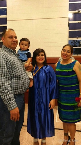 Victoria Morales with her family on graduation day. From left: Gabriel Morales (Dad), Jotham Espinosa, (son), Victoria Morales and Belinda Urdina (Mom). Courtesy photo.