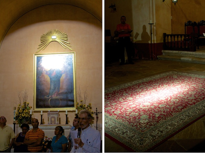Small windows allow two beams of light to illuminate the Virgin Mary's face and altar floor at 6:30 p.m. every Aug. 15 for the Assumption of the Virgin Mary into Heaven at Mission Concepción. Photo courtesy of Fr. David Garcia.