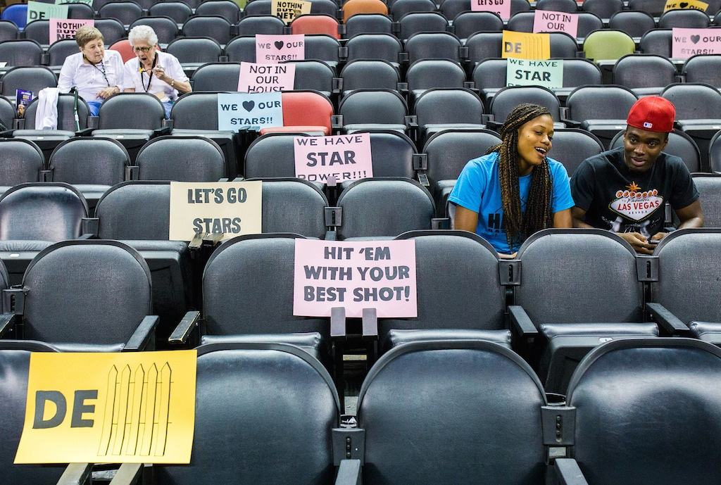 A section of seats in the AT&T Center before a San Antonio Stars game. Photo by Scott Ball.