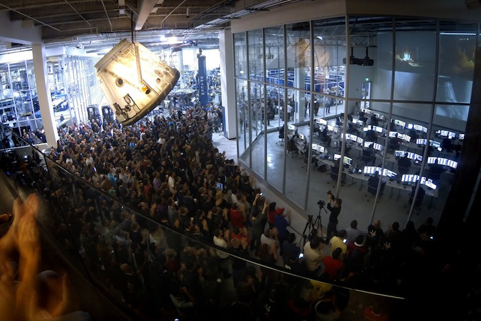 SpaceX employees watch the Falcon 9 launch from SpaceX Headquarters in Hawthorne, Calif. Photo courtesy of SpaceX.