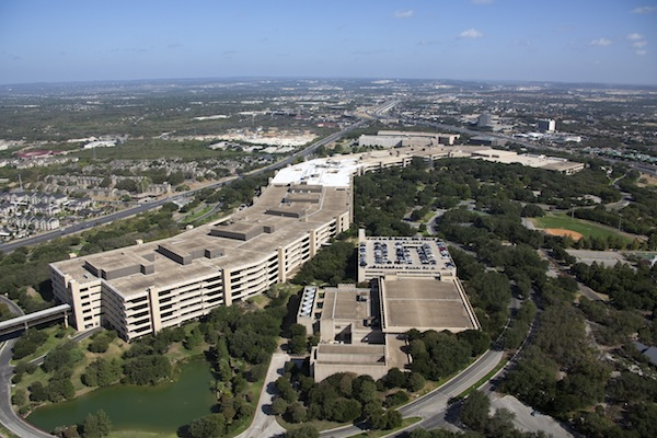 USAA headquarters in San Antonio. If stood on end, it would be 300 stories tall, three times the height of the Empire State Building. Photo courtesy of USAA.