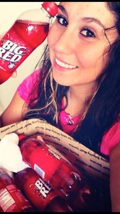 Former San Antonio resident, Vanessa Rangel, asks G-Runners to satisfy her thirst of Big Red for her family's Sunday breakfast in S. Dakota. Photo courtesy of Ruben Herrera.