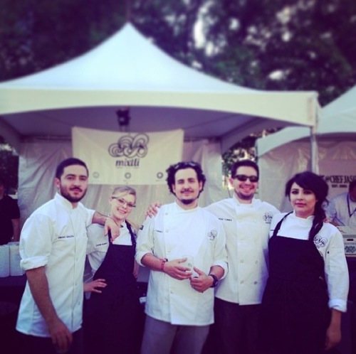 The Mixtli team at the 2014 Austin Food and Wine Festival. From left to right Diego Galicia, Cassie Ramsey, Rico Torres, Jesse Torres, Dennise Montano).
