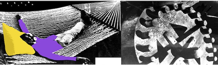 Baldessari's black and white photo of a man relaxing in a hammock is next to an image of a large gear, contrasting the leisure and industrialism that are essential to the American Dream. Image provided by the Los Angeles Nomadic Division.