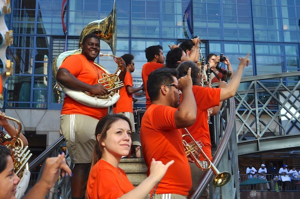 """UTSA's Spirit of San Antonio band plays during the """"Bring It"""" River Rally for the NCAA Committee delegation. Photo by Iris Dimmick."""