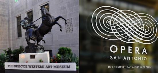 Left: The Briscoe Museum of Western Art. Right: Opera San Antonio Logo.