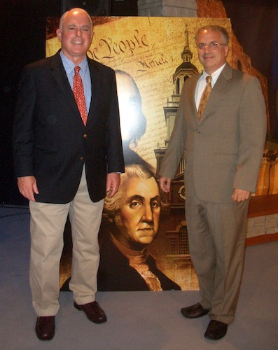 Emcee Paul Martin (left)and author/educator Christopher Phillips (right) at Constitution Café. Photo by Lily Casura.