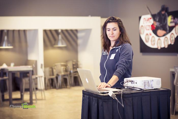 Code for America Fellow Maya Benari during the CodeAcross input meeting at Rackspace. Photo by Kara Gomez/Open Book Studios.