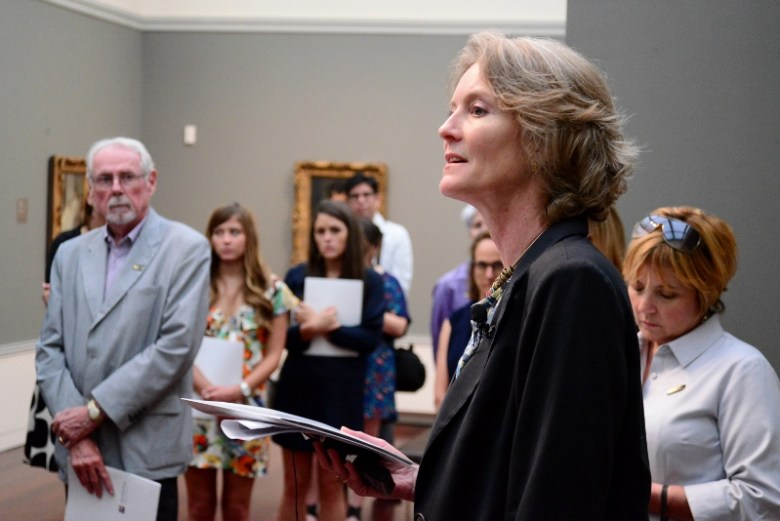 Mary Morton leads the tour through the exhibit. Photo by Page Graham.
