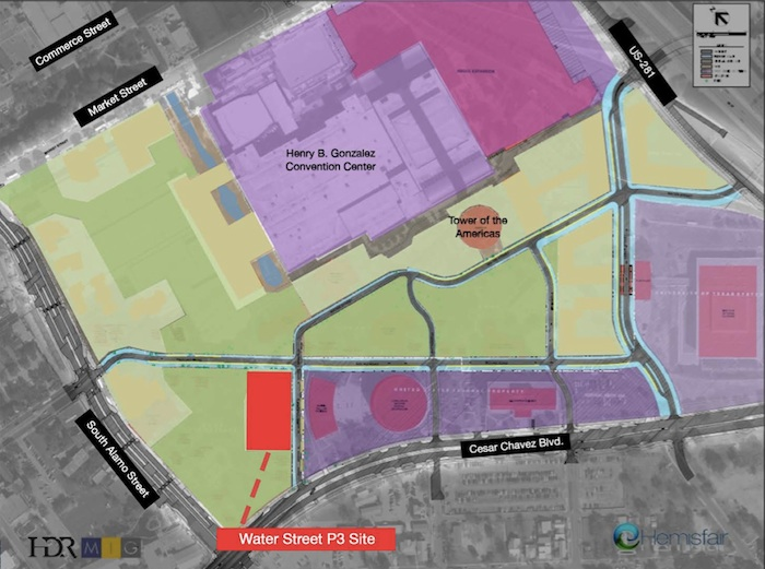 The Water Street project fits within Hemisfair's overall park and development plan.