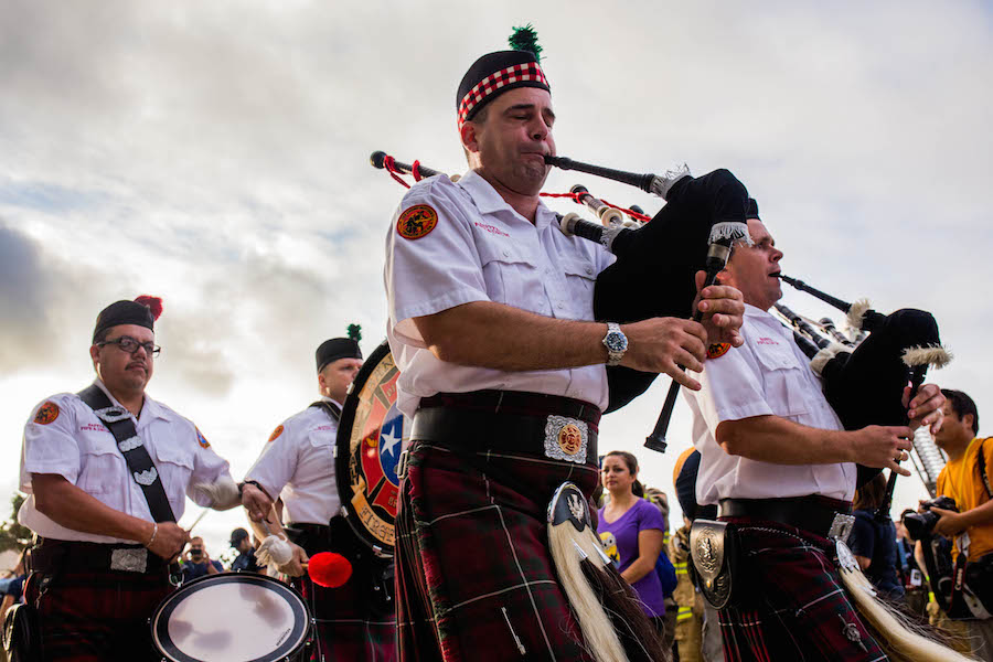 Bagpipes preceded the opening ceremony during the second annual San Antonio 110-9/11 Memorial Climb. Photo by Scott Ball.San Antonio 110 9/11 Memorial Climb.