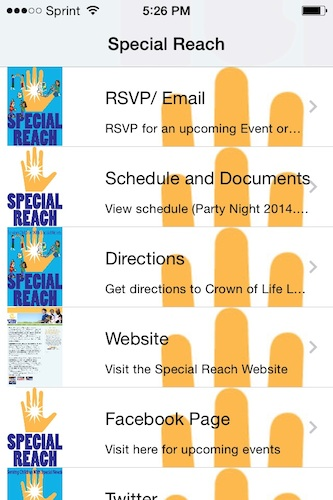 The in-app RSVP form for events. This feature operates through your phone's email function.